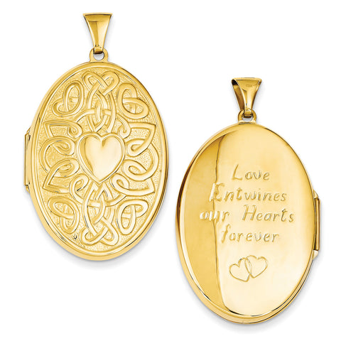 14k Celtic Heart 38mm Oval Locket XL385 - shirin-diamonds