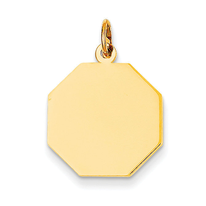14k Plain .009 Gauge Engravable Octagonal Disc Charm XM180/09 - shirin-diamonds