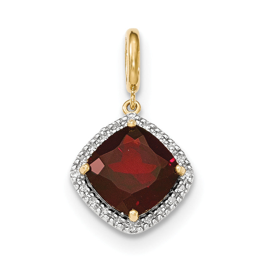 14k Garnet w/Diamond Halo Pendant XP4493GA/AA