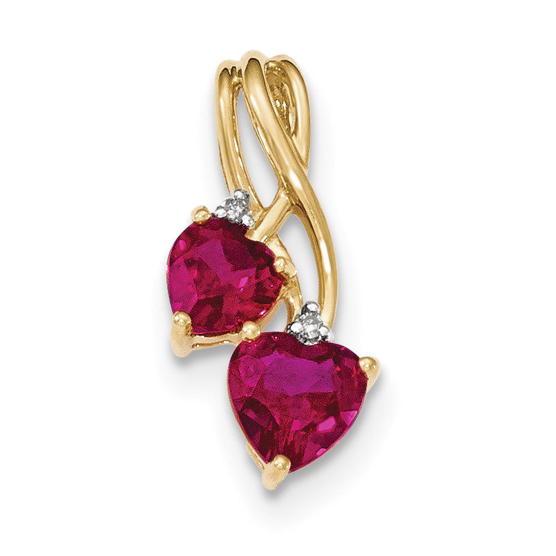 14k Lab Created Ruby and Diamond Double Heart Pendant