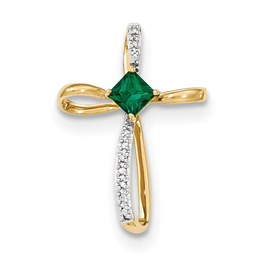14k Lab Created Emerald and Diamond Cross Pendant