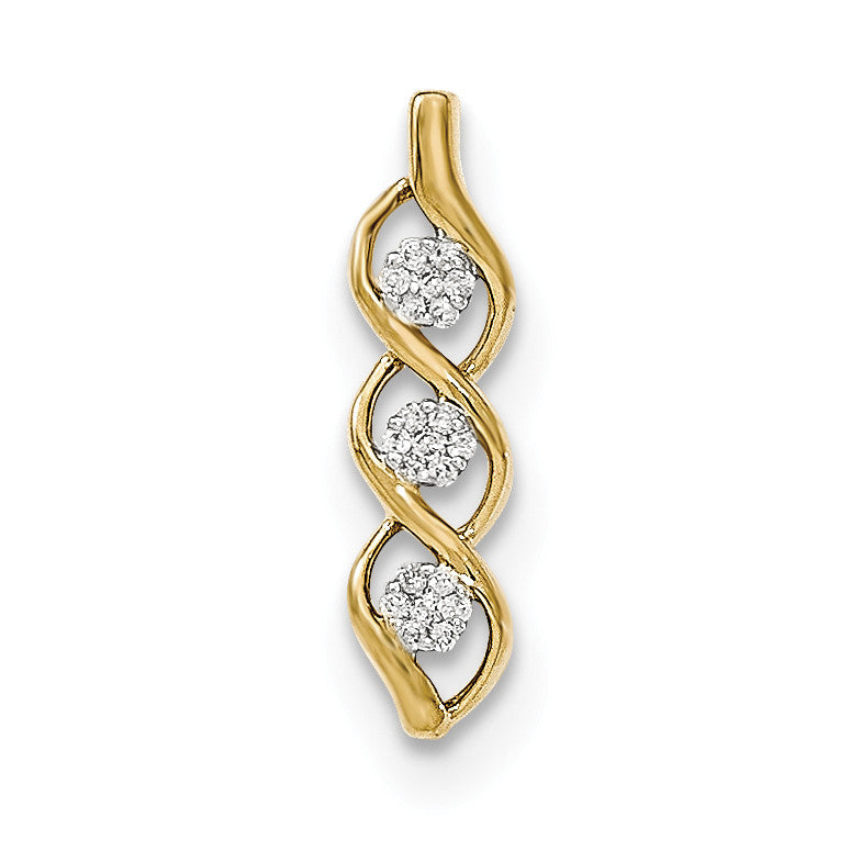 14K Gold Polished Diamond Chain Slide Pendant
