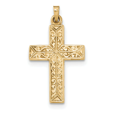 14k Polished Filigree Cross Pendant XR1420 - shirin-diamonds