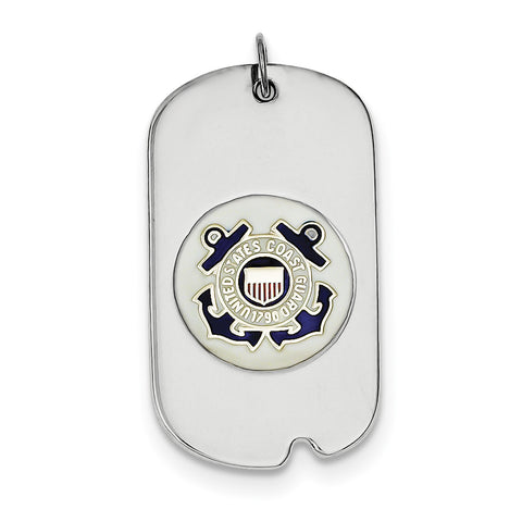 Sterling Silver Rhod-plated US Coast Guard Dog Tag XSM134 - shirin-diamonds