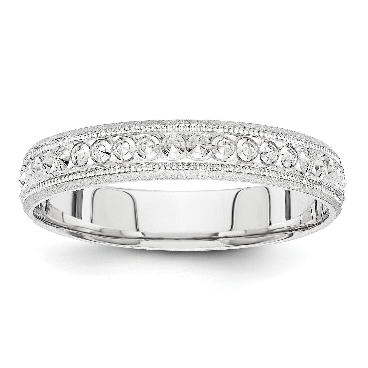 14K White Gold 3mm Design Etched Wedding Band XWB250 - shirin-diamonds