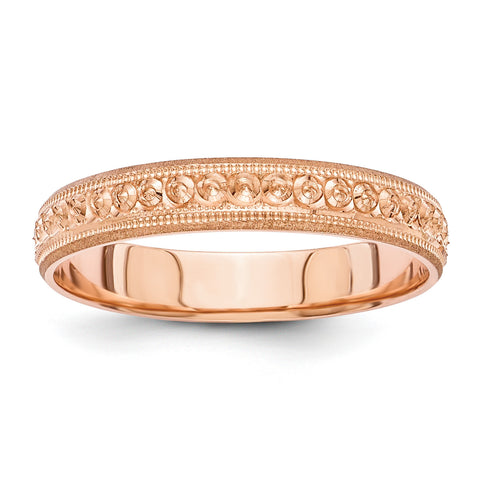 14K Rose Gold 3mm Design Etched Wedding Band XWB251-5