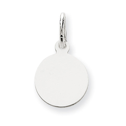 14k White Gold Plain .027 Gauge Round Engravable Disc Charm XWM135/27 - shirin-diamonds