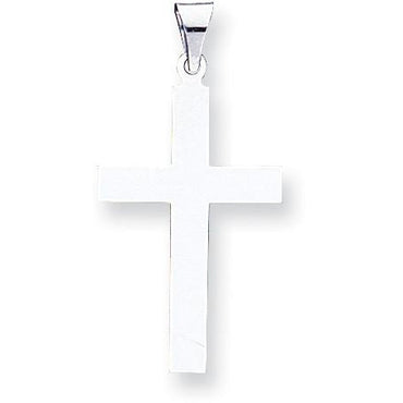 14k White Gold Polished Cross Pendant XWR15 - shirin-diamonds