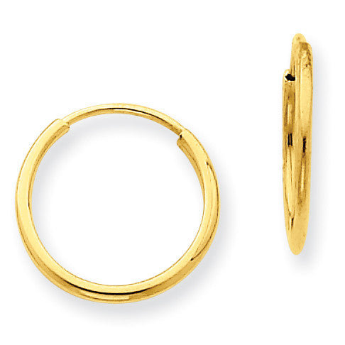 14k 1.25mm Endless Hoop Earring XY1210 - shirin-diamonds