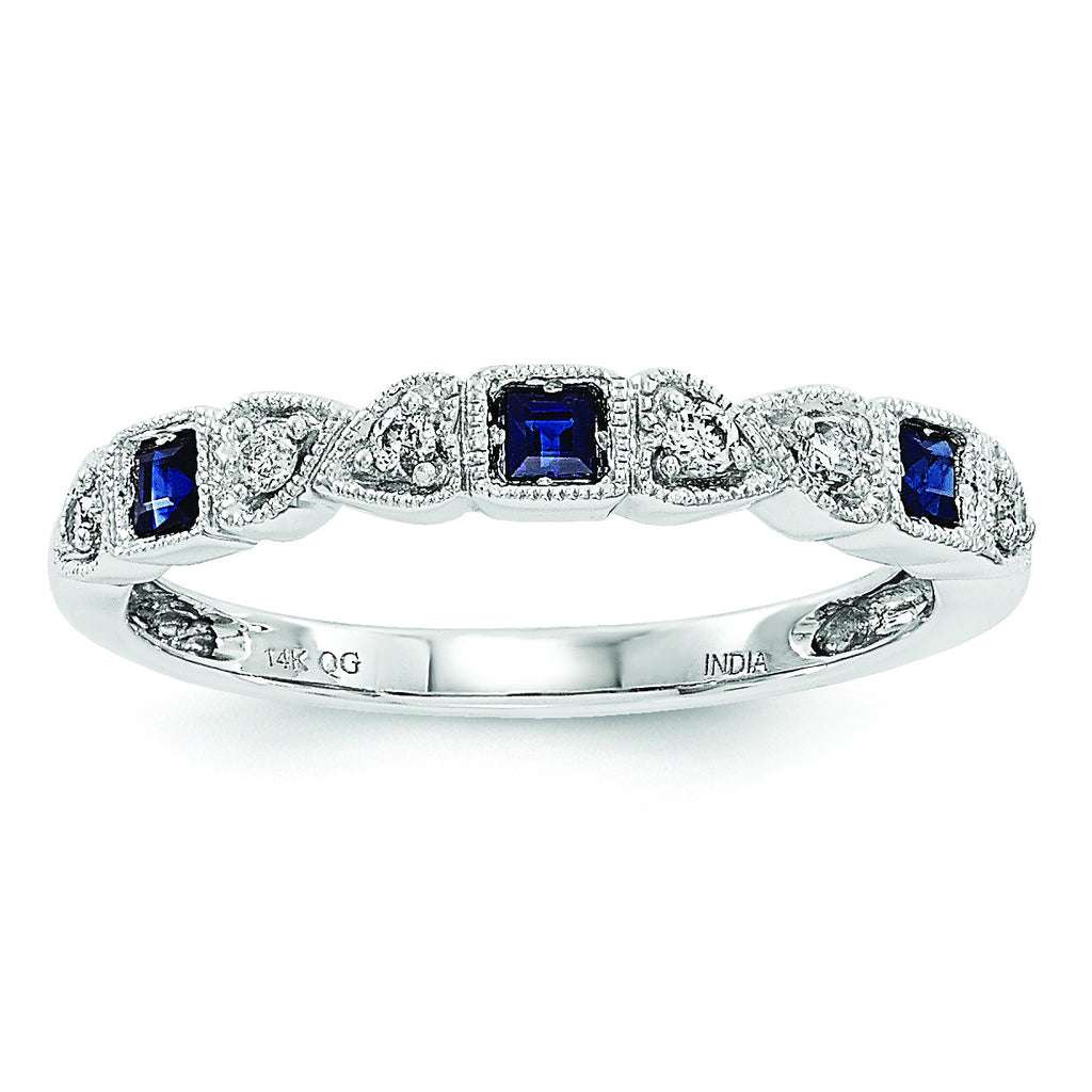 14k White Gold Diamond & Blue Sapphire Ring Y6539S/A - shirin-diamonds