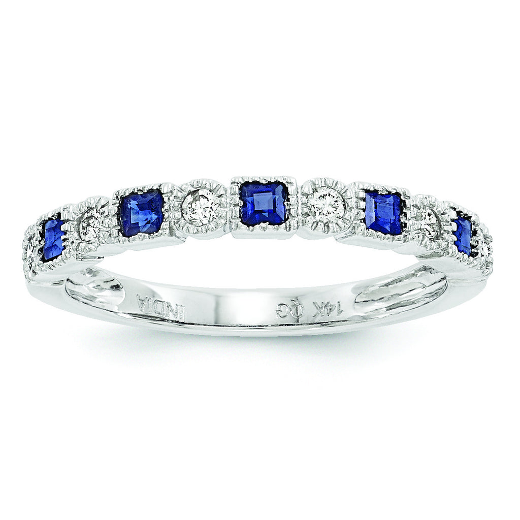 14k White Gold Diamond & Blue Sapphire Ring Y6543S/A - shirin-diamonds