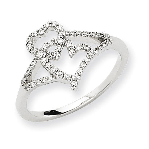 14k White Gold Diamond Heart Shape Ring Y6599AA - shirin-diamonds