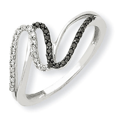 14K White Gold Black & White Diamond Ring Y7982AA - shirin-diamonds