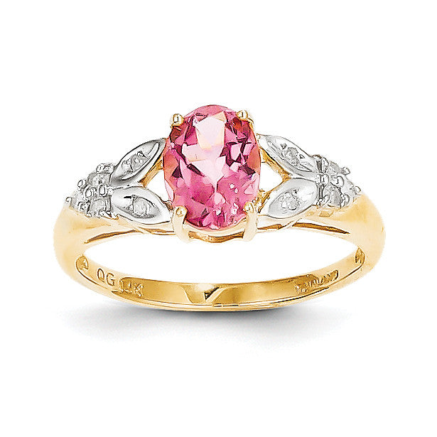 14k Pink Tourmaline & Diamond Ring Y8596PT - shirin-diamonds