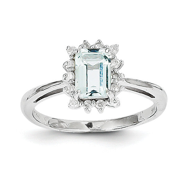 14k White Gold Aquamarine and Diamond Ring Y8936AQ/AA - shirin-diamonds