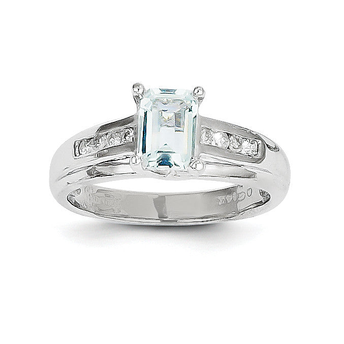 14k White Gold Aquamarine and Diamond Ring Y8937AQ/AA - shirin-diamonds