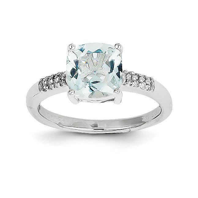 14k White Gold Aquamarine and Diamond Ring Y8939AQ/AA - shirin-diamonds