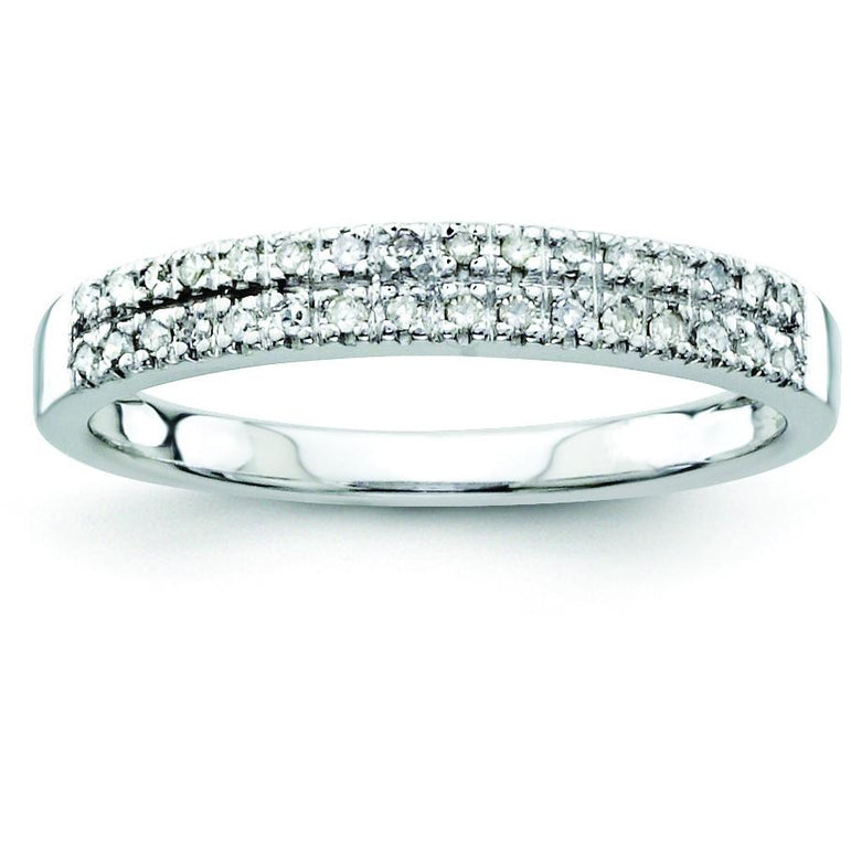 14k White Gold Diamond Wedding Band Y9942WAA - shirin-diamonds