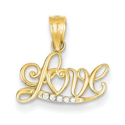 14k Yellow Diamond Cut Love Pendant YC1077 - shirin-diamonds