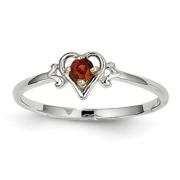 14K White Gold Garnet Birthstone Heart Ring YC412 - shirin-diamonds
