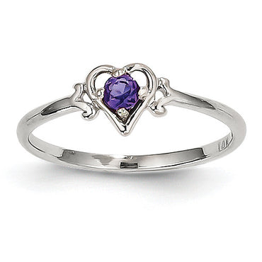 14K White Gold Amethyst Birthstone Heart Ring YC413 - shirin-diamonds