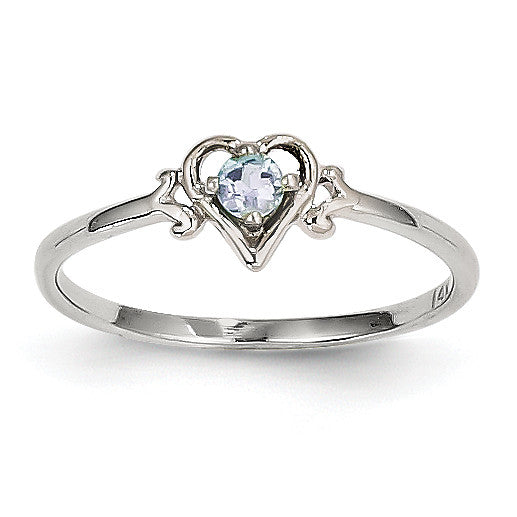 14K White Gold Aquamarine Birthstone Heart Ring YC414 - shirin-diamonds