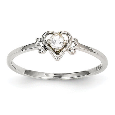 14K White Gold White Topaz Birthstone Heart Ring YC415 - shirin-diamonds