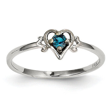 14K White Gold Synthetic Alexandrite Birthstone Heart Ring YC417 - shirin-diamonds