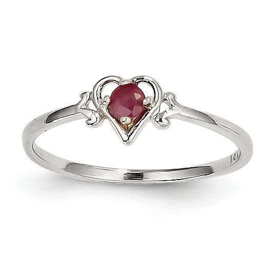14K White Gold Ruby Birthstone Heart Ring YC418 - shirin-diamonds
