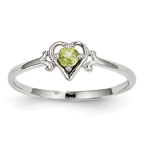 14K White Gold Peridot Birthstone Heart Ring YC419 - shirin-diamonds