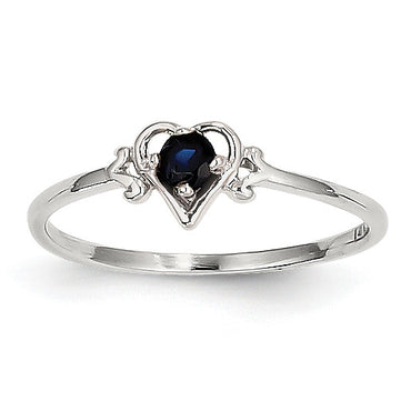 14K White Gold Sapphire Birthstone Heart Ring YC420 - shirin-diamonds