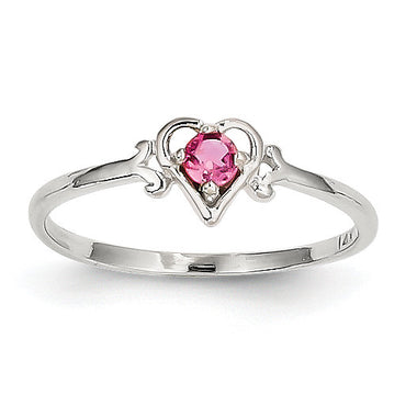 14K White Gold Pink Tourmaline Birthstone Heart Ring YC421 - shirin-diamonds
