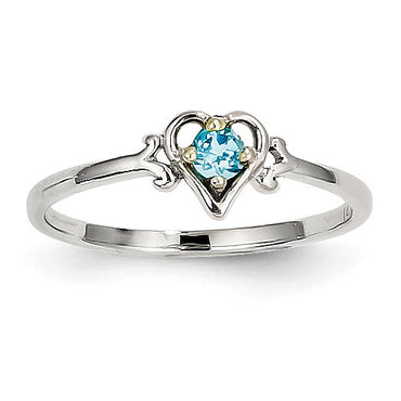 14K White Gold Blue Topaz Birthstone Heart Ring YC423 - shirin-diamonds