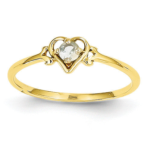 14K Aquamarine Birthstone Heart Ring YC426 - shirin-diamonds