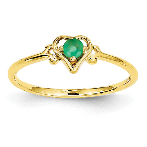 14K Emerald Birthstone Heart Ring YC428 - shirin-diamonds