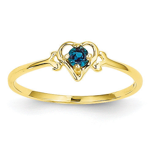 14K Synthetic Alexandrite Birthstone Heart Ring YC429 - shirin-diamonds