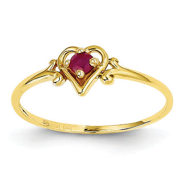 14K Ruby Birthstone Heart Ring YC430 - shirin-diamonds
