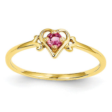 14K Pink Tourmaline Birthstone Heart Ring YC433 - shirin-diamonds