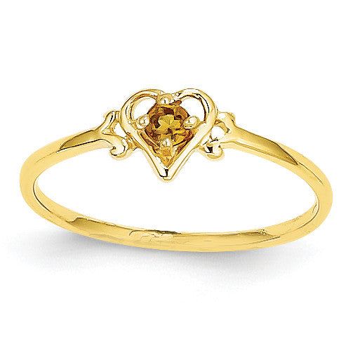 14K Citrine Birthstone Heart Ring YC434 - shirin-diamonds