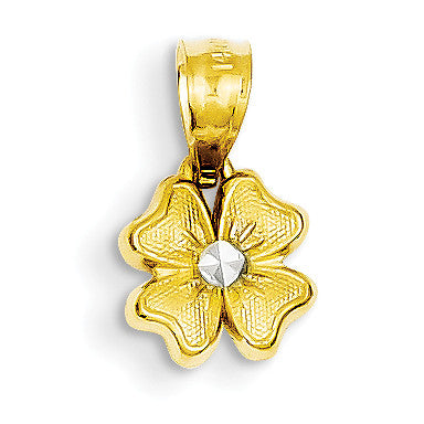 14k & Rhodium Small Flower Charm YC529 - shirin-diamonds
