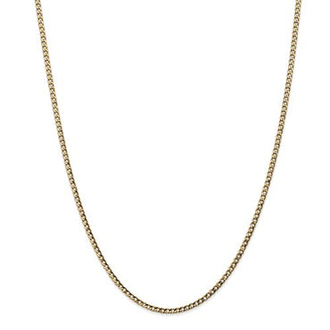 "14k 2.5mm Semi-Sold Curb Link Chain BC124 16"" - 24"""