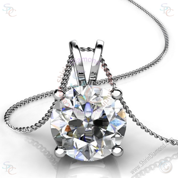 AAA Cubic Zirconia Round Brilliant cut Solitaire Pendant with 18