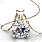 "AAA Cubic Zirconia Round Brilliant cut Solitaire Pendant with 18"" Necklace - shirin-diamonds"