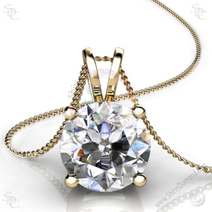 "AAA Cubic Zirconia Round Brilliant cut Solitaire Pendant with 18"" Necklace - Shirin Diamonds"