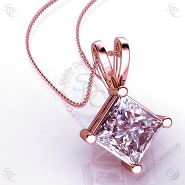 "AAA Cubic Zirconia Princess cut Solitaire Pendant with 18"" Necklace - shirin-diamonds"