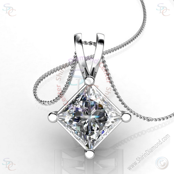 AAA Cubic Zirconia Princess cut Solitaire Pendant with 18