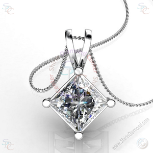 "AAA Cubic Zirconia Princess cut Solitaire Pendant with 18"" Necklace - Shirin Diamonds"