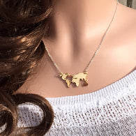 Personalized world Map Necklace - Nomad Camel