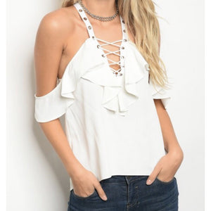 White Lace Up Ruffle Top