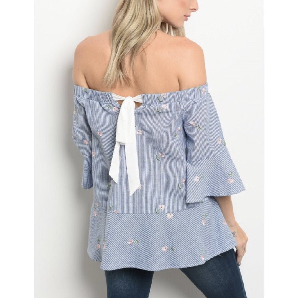 Blue Striped Floral Detail Top